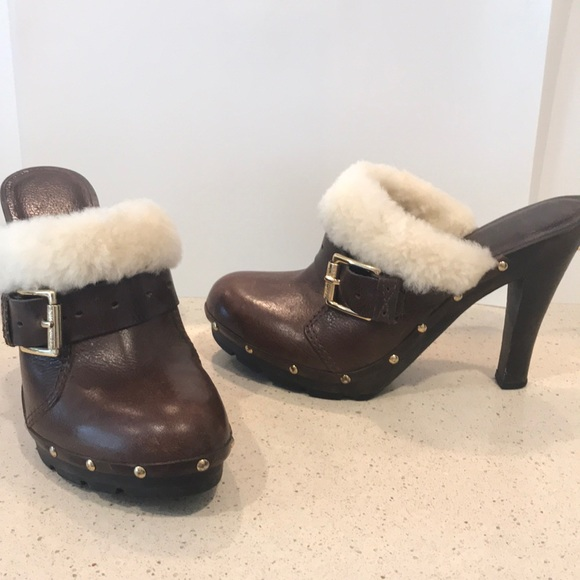 MICHAEL Michael Kors Shoes - MICHAEL Michael Kors Faux Fur Brown Leather Clogs